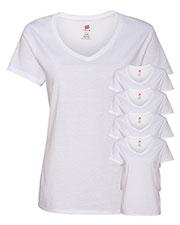 Hanes S04V Women 4.5 Oz. 100% Ringspun Cotton Nano-T V-Neck T-Shirt 5-Pack at GotApparel