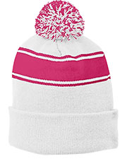 Port Authority STC28 Unisex Stripe Pom Beanie at GotApparel