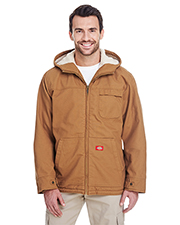 Dickies TJ350 Men 8.5 oz. Sanded Duck Sherpa Lined Hooded Jacket at GotApparel