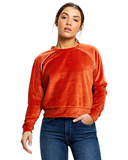 US Blanks US538 Women Ladies' Velour Long Sleeve Crop T-Shirt at GotApparel