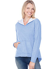 Women French Terry Raw Edge High-Low Long Sleeve Lined Hoodie at GotApparel
