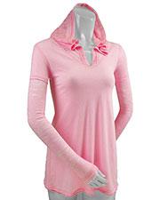 Women Sheer Jersey Two-Fer Contrast Burnout Long Sleeve Hoodie Slcn Wsh at GotApparel