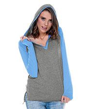 Women Jersey V-Neck Raglan High-Low Long Sleeve Hoodie at GotApparel