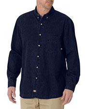 Dickies WL300T Unisex Tall Long-Sleeve Button-Down Denim Shirt at GotApparel
