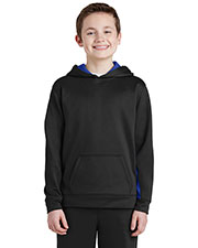 Sport-Tek YST235 Boys Fleece Colorblock Hooded Pullover at GotApparel