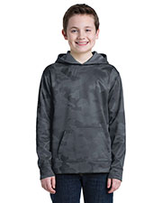Sport-Tek YST240 Boys CamoHex Fleece Hooded Pullover at GotApparel