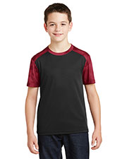 Sport-Tek YST371 Boys CamoHex Colorblock Tee at GotApparel