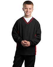 Sport-Tek YST62 Boys Tipped V-Neck Raglan Wind Shirt at GotApparel