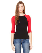 Bella + Canvas B2000 Women Stretch Rib 3/4Sleeve Contrast Raglan T-Shirt at GotApparel