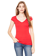 Bella + Canvas B8705 Women Sheer Mini Rib Cap Sleeve Deep V-Neck T-Shirt at GotApparel