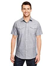 Burnside B9247 Men Textured Woven Shirt at GotApparel
