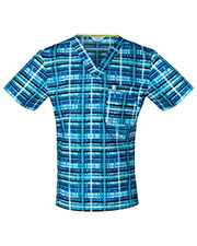 Code Happy CH605X5A Men V-Neck Plaid Print Scrub Top at GotApparel