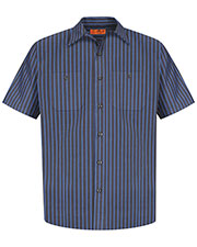 Red Kap® CS20 Men's Short-Sleeve Striped Industrial Work Shirt at GotApparel