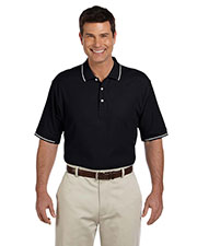 Devon & Jones Blue D113 Men Pima Pique short sleeve Tipped Polo at GotApparel
