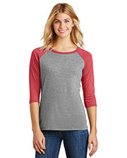 District Made DM136L Women Perfect Tri 3/4-Sleeve Raglan at GotApparel