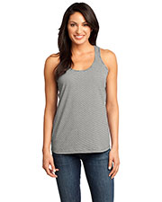 District Made DM421 Women  Mini Stripe Gathered Racerback Tank at GotApparel