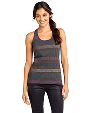 District DT229 Women Reverse Striped Scrunched Back Tank at GotApparel