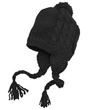 District DT617 Men Cabled Beanie with Pom at GotApparel
