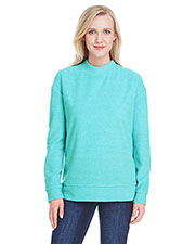 J America JA8428 Women Weekend French Terry Mock Neck Crew at GotApparel