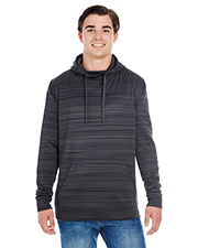 J America JA8661 Men Odyssey Striped Poly Fleece Pullover Hood at GotApparel