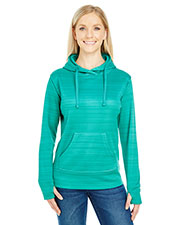 J America JA8662 Women Odyssey Striped Poly Fleece Lapover Hood at GotApparel
