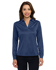 Tri-Mountain KL209LS Women heather jersey long sleeve polo at GotApparel