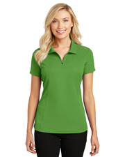Port Authority L580 Women Pinpoint Mesh Zip Polo at GotApparel