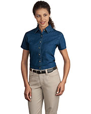 Port & Company LSP11 Women Short Sleeve Value Denim Shirt at GotApparel