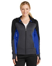 Sport-Tek® LST245 Women   Tech Fleece Colorblock Full-Zip Hooded Jacket at GotApparel