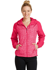 Sport-Tek LST40  ®  Ladies Heather Colorblock Raglan Hooded Wind Jacket. at GotApparel