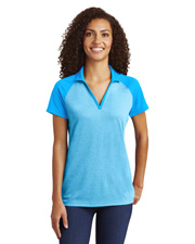 Sport-Tek® LST641 Women PosiCharge® RacerMesh Raglan Heather Block Touch™ at GotApparel