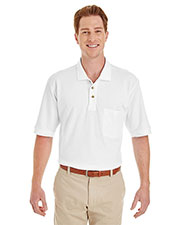 Harriton M200P Men 6 Oz. Ringspun Cotton Pique Short-Sleeve Pocket Polo at GotApparel