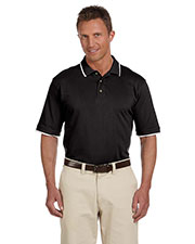 Harriton M210 Men 6 Oz. Short-Sleeve Pique Polo With Tipping at GotApparel