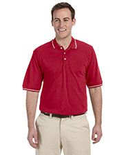 Harriton M270 Men 5.6 oz. Tipped Easy Blend Polo at GotApparel