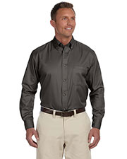 Harriton M500 Men Easy Blend LongSleeve Twill Shirt with Stain Release at GotApparel