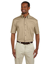 Harriton M500S Men Easy Blend Short-Sleeve Twill Shirt With Stain-Release at GotApparel