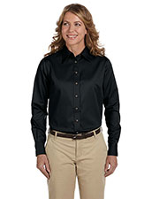 Harriton M500W Women Easy Blend Long-Sleeve Twill Shirt With Stain-Release at GotApparel