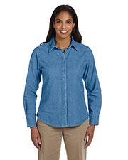 Harriton M550W Women 6.5 Oz. Long-Sleeve Denim Shirt at GotApparel
