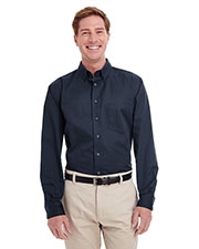 Harriton M581T Men Tall Foundation 100% Cotton Long-Sleeve Twill Shirt With Teflon  at GotApparel