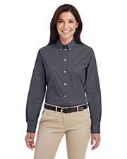 Harriton M581W Women Foundation 100% Cotton Long-Sleeve Twill Shirt With Teflon  at GotApparel