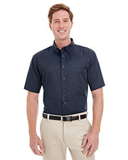 Harriton M582 Men Foundation 100% Cotton Short-Sleeve Twill Shirt Teflon  at GotApparel