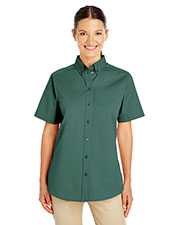 Harriton M582W Women 100% Cotton Short-Sleeve Twill Shirt at GotApparel