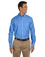 Harriton M600 Men Long-Sleeve Oxford With Stain-Release at GotApparel