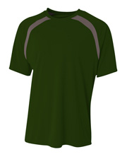 A4 N3001 Men Spartan Short Sleeve Color Block Crew at GotApparel
