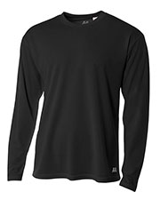 A4 N3253 Men Textured Tech Long-Sleeve Tee at GotApparel
