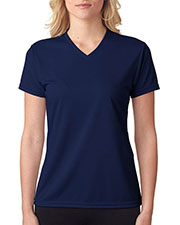 A4 Drop Ship NW3254 Women Shorts Sleeve V-Neck Birds Eye Mesh T-Shirt at GotApparel