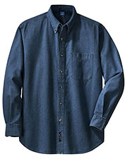 Port & Company SP10 Men Long Sleeve Value Denim Shirt at GotApparel