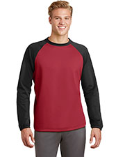Sport-Tek ST242 Adult Raglan Colorblock Fleece Crewneck at GotApparel