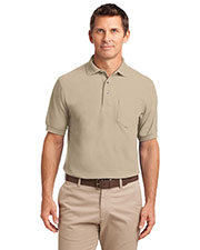 Port Authority TLK500P Men Tall Silk Touch  Polo With Pocket at GotApparel