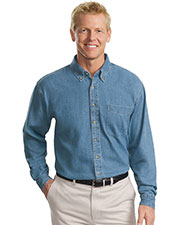 Port Authority TLS600 Men Tall Long-Sleeve Denim Shirt at GotApparel